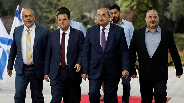 The leaders of the Joint List arrive for a meeting with President Reuven Rivlin in Jerusalem, in which they recommended Benny Gantz for prime minister (צילום: רויטרס)
