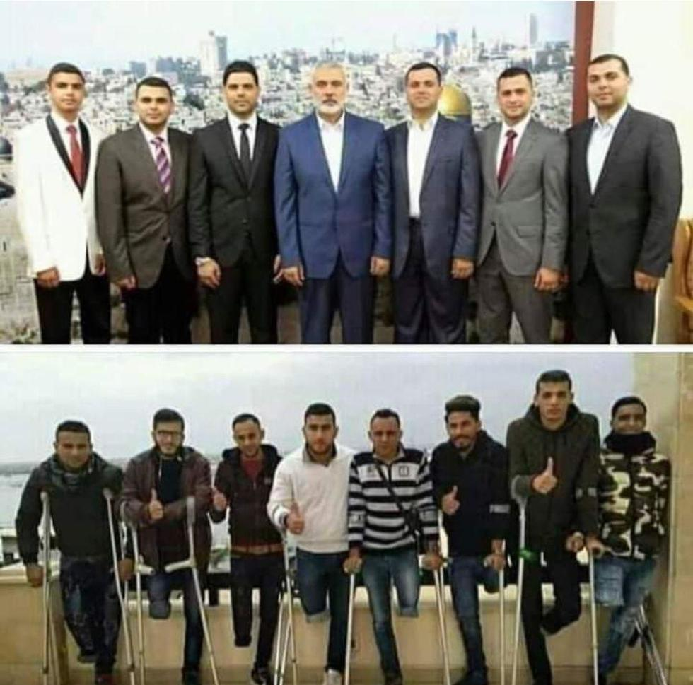 Top: Hamas leader Ismail Haniyeh with his six sons. Bottom: Wounded youths paid by Hamas to protest at the Gaza fence