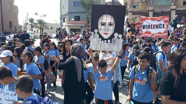 A protest against violence in the Arab community on Thursday