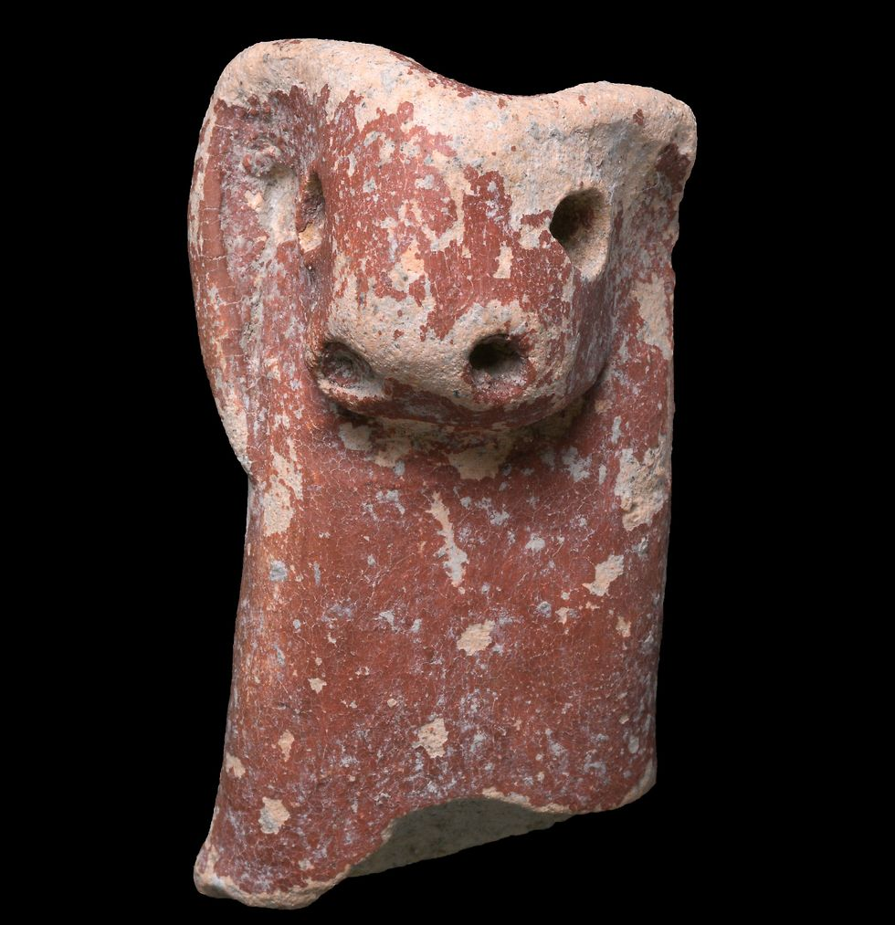 One of the recovered statues (Photo: Clara Amit, Israel Antiquities Authority)