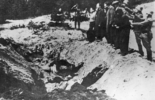 Nazi SS troops line up Kyiv Jews in front of the shooting pit during the Babi Yar massacre