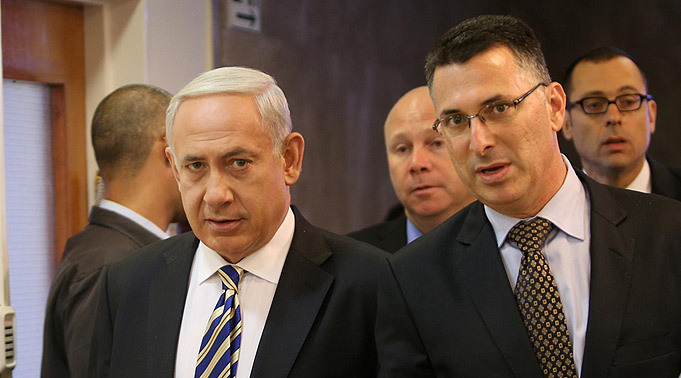 Prime Minister Benjamin Netanyahu and Gideon Sa'ar during his time as Education Minister in 2012
