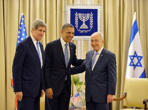 U.S. President Barack Obama and Secretary of State meeting with President Shimon Peres in Jerusalem, March 2013