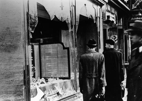 Jewish-owned stores destroyed in Berlin in the 1938 Kristallnacht pogrom