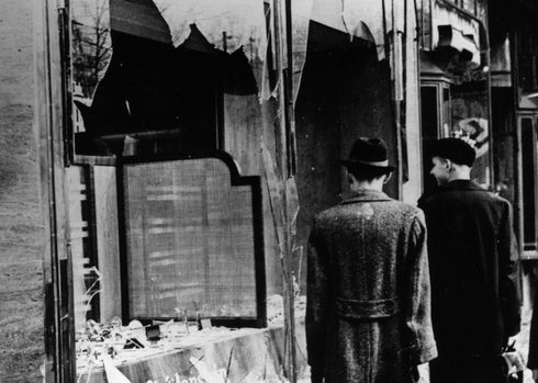 Jewish-owned shops in Berlin vandalized during the Kristallnacht pogrom of 1938
