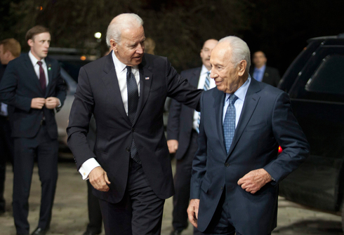 Then-U.S. vice president Joe Biden meeting with then-president Shimon Peres on a visit to Jerusalem in 2014
