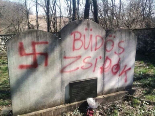 A Jewish cemetery desecrated in Budapest, in 2014