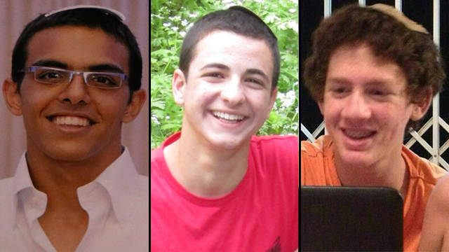 L-R: Eyal Yifrah, Gil-Ad Shaer and Naftali Frenkel were kidnapped and murdered by Hamas in June 2014