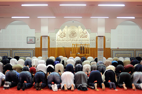 Muslims praying at a mosque in the western French city of Nantes