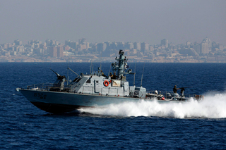 An Israel Navy vessel of the coast of Gaza