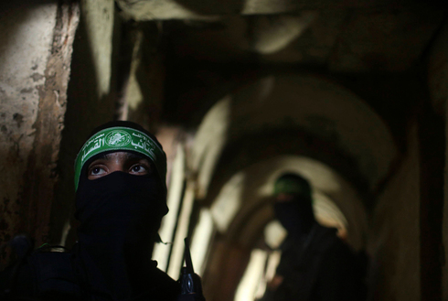 Hamas fighters in one of the group's Gaza attack tunnels