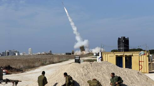 An Iron Dome battery in action near the southern city of Ashdod
