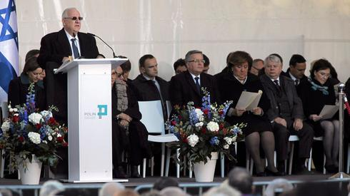 President Reuven Rivlin speaking at the opening ceremony of the POLIN museum
