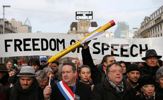 Protesters in France demonstrating against the massacre in the Charlie Hebdo offices, after the satirical newspaper published a caricature of Mohammad