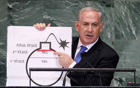 Benjamin Netanyahu holds up a diagram featuring a cartoonish drawing of a bomb he used as a prop to illustrate what he sees as Iran's drive for an atomic weapon during his speech at the UN General Assembly, September 27, 2012