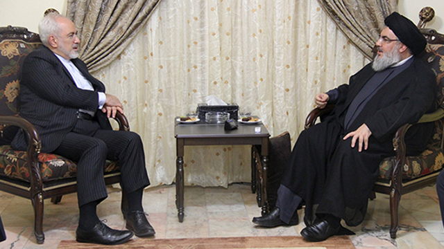 Iranian Foreign Minister Javad Mohammad Zarif meeting with Hezbollah leader Hassan Nasrallah in Beirut