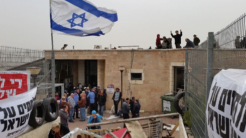 A synagogue build illegally on private Palestinian land is occupied by extreme settlers to prevent its demolition, Nov. 2015