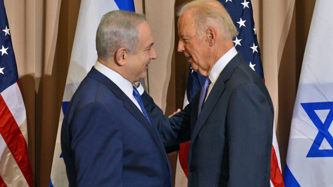 Benjamin Netanyahu and then-Vice President Joe Biden meeting in Jerusalem in 2016