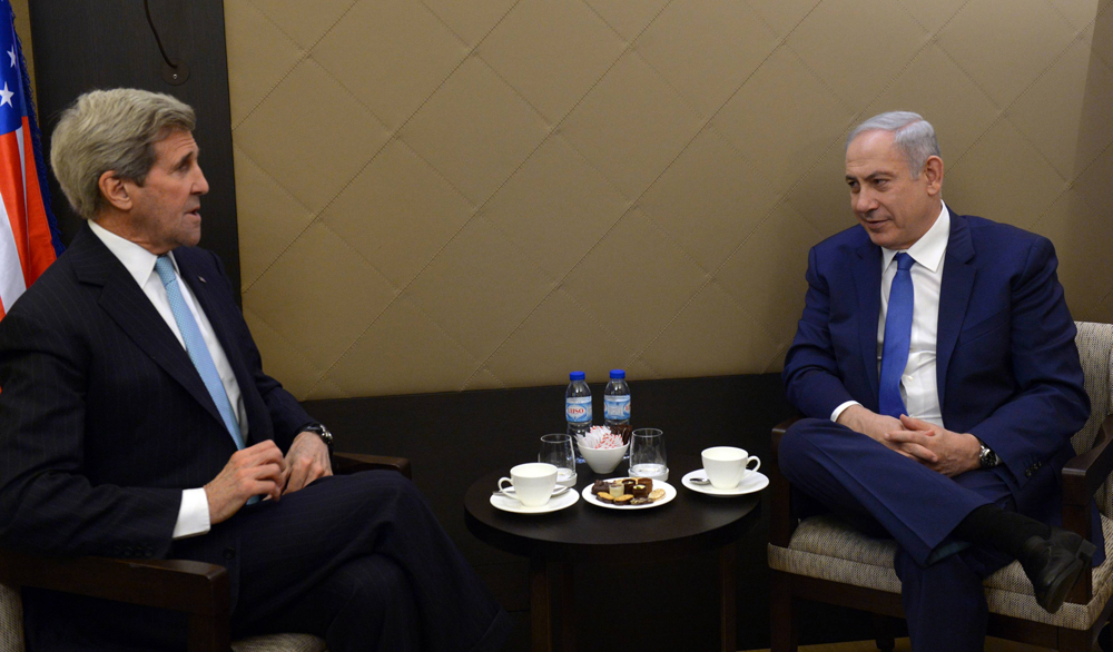 Then-U.S. Secretary of State John Kerry and Prime Minister Benjamin Netanyahu during a meeting in Davos in 2016