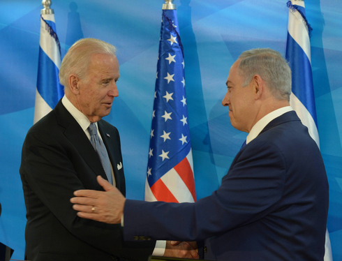 Then-U.S. VP Joe Biden meeting with Netanyahu during a visit to Israel in 2016