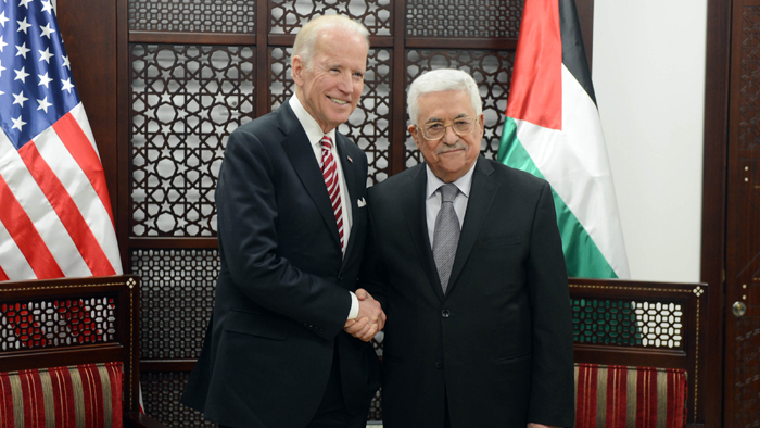 President-elect Joe Biden and PA President Mahmoud Abbas during a meeting in 2010