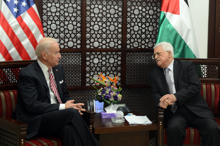Then-Vice President Joe Biden meeting with Palestinian President Mahmoud Abbas in Ramallah in 2016