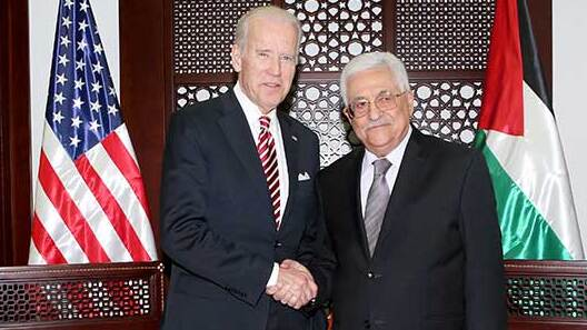 Then-U.S. Vice President Joe Biden meeting with Palestinian President Mahmoud Abbas in 2016