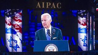 Then-vice president Joe Biden addressing the AIPAC conference in Washington in 2016