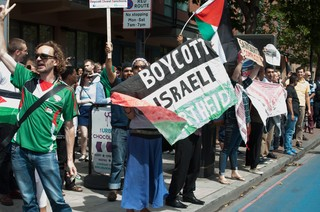 A pro-Palestinian protest calling for a boycott of Israel