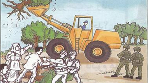 An image from a 2nd grade textbook used by UNRWA depicting Israelis stealing Palestinian land