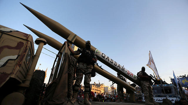 Gaza terror groups display the rockets that are planned to be fired at Israel