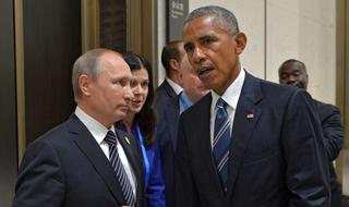 Russian President Vladimir Putin and then-U.S. President Barak Obama during a G20 meeting in 2018