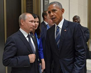 Russian President Vladimir Putin and then-U.S. President Barak Obama during a G20 meeting in 2016