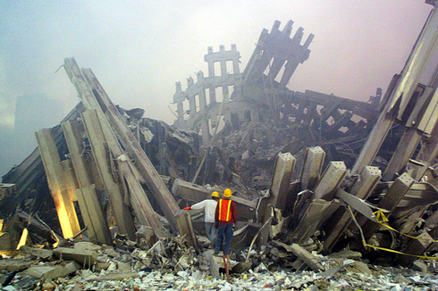 The wreckage after collapse of World Trade Center twin towers