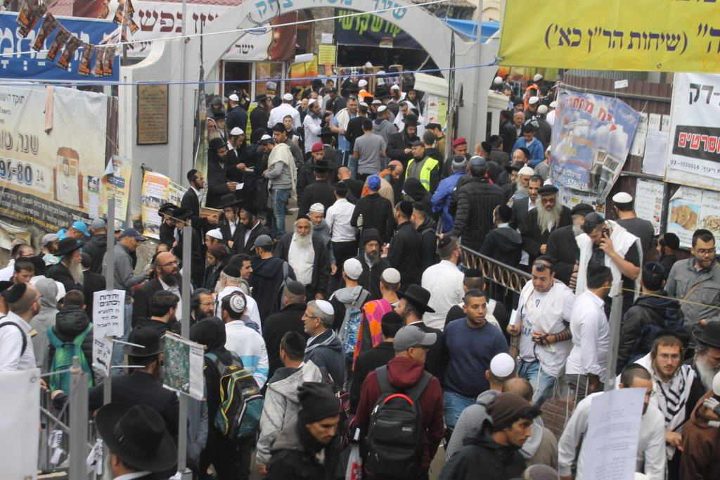 Thousands of parishioners outside the burial site of Rabbi Nachman of Breslov