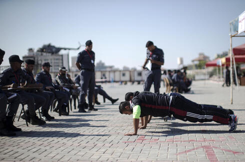 Hamas police recruits during training in the Gaza Strip