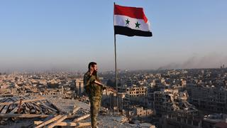 A Syrian government soldier in Aleppo