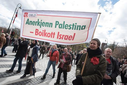 A pro-Palestinian protest in Norway calling for a boycott of Israel