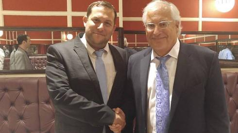 Settler leader Yossi Dagan, left, with U.S. Ambassador to Israel David Friedman