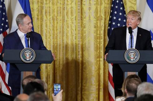 Prime Minister Benjamin Netanyahu and U.S. President Donald Trump presenting the Mideast peace plan at the White House