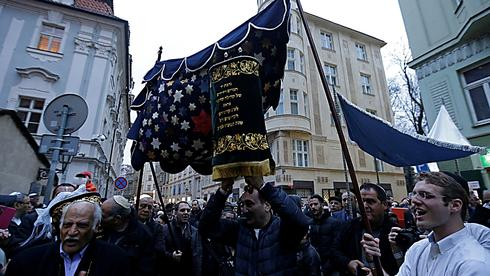 Prague Jewish community celebrates the Old-New Synagogue's first new Torah scrolls since the Holocaust, March 2017
