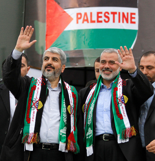 Hamas leaders Khaled Mashal, left, and Ismail Haniyeh