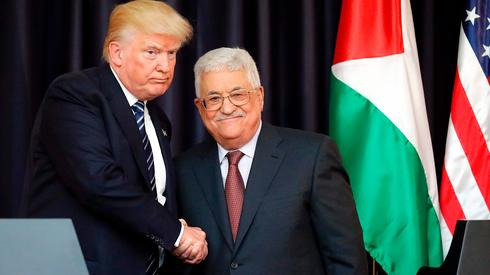 Donald Trump and Mahmoud Abbas attend a press conference in Bethlehem, May 2017