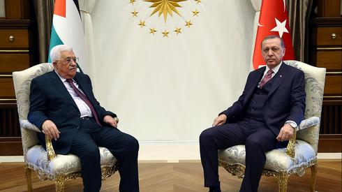Erdogan meeting with Palestinian President Mahmoud Abbas in Ankara in 2017