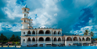 A mosque under clear blue skies, in Moroni, Comoros