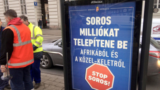 An anti-Soros ad placed on a bus stop in Hungary