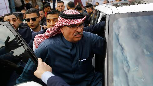 Qatar's envoy to Gaza Mohammad al-Emadi on a visit to the Strip
