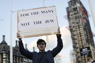 British Jews protest outside parliament in London against anti-Semitism in Jeremy Corbyn's Labour party