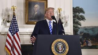 U.S. President Donald Trump announces he is pulling out of the Iran nuclear deal, May 2018