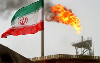An Iranian oil rig in the Persian Gulf